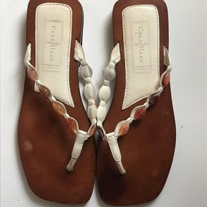 Cole Haan Resort White Beaded Thong Sandals 8B
